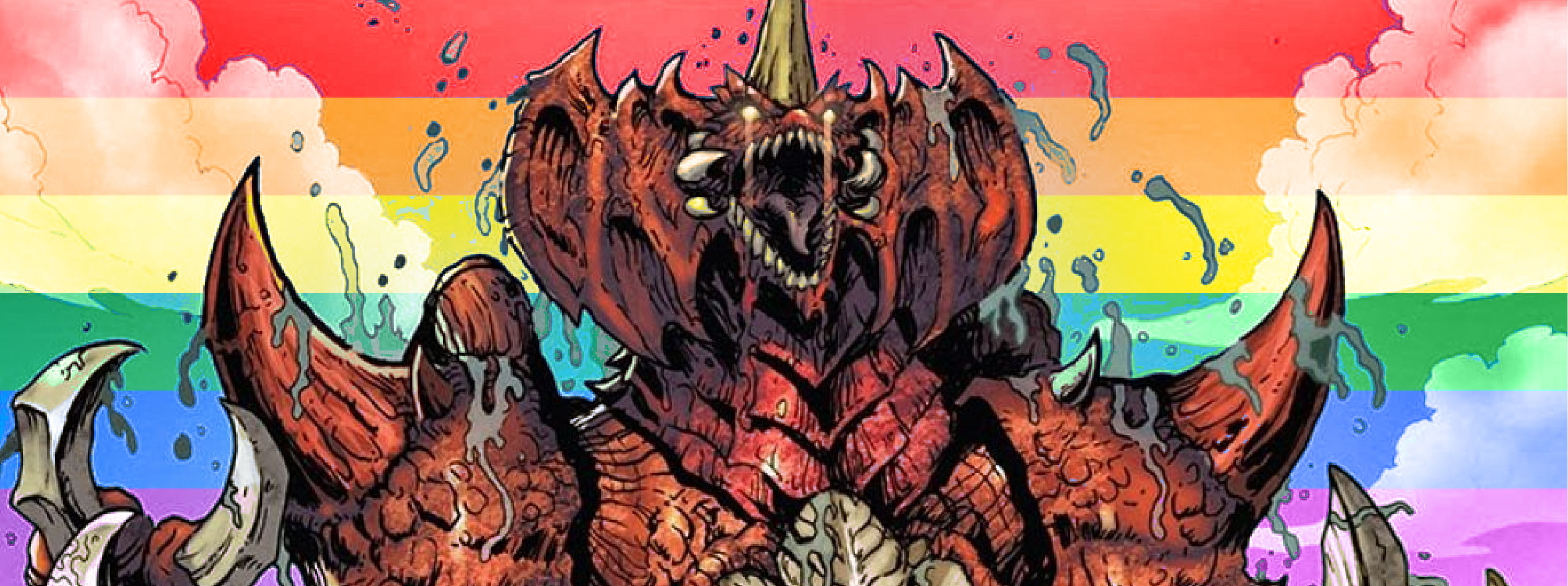 Destroyah monster in comic book style with rainbow flag in the background.
