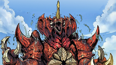 Destroyah monster in comic book style.