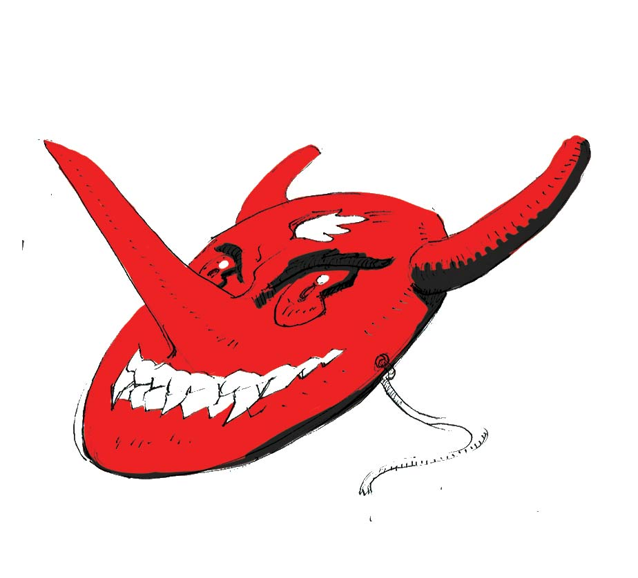 A red colored devil mask with a long nose and a suspicious smile.