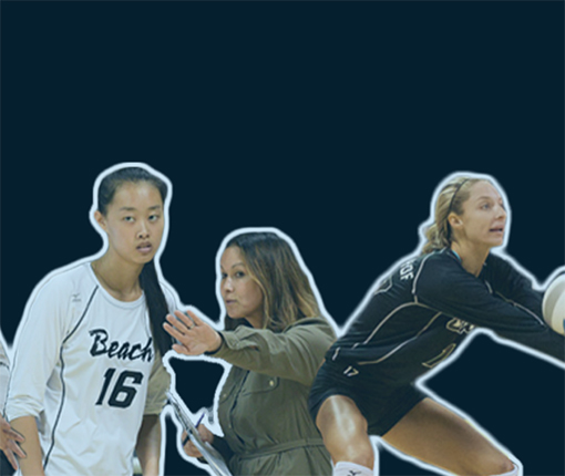 A collage of the woman's volleyball coach and players.