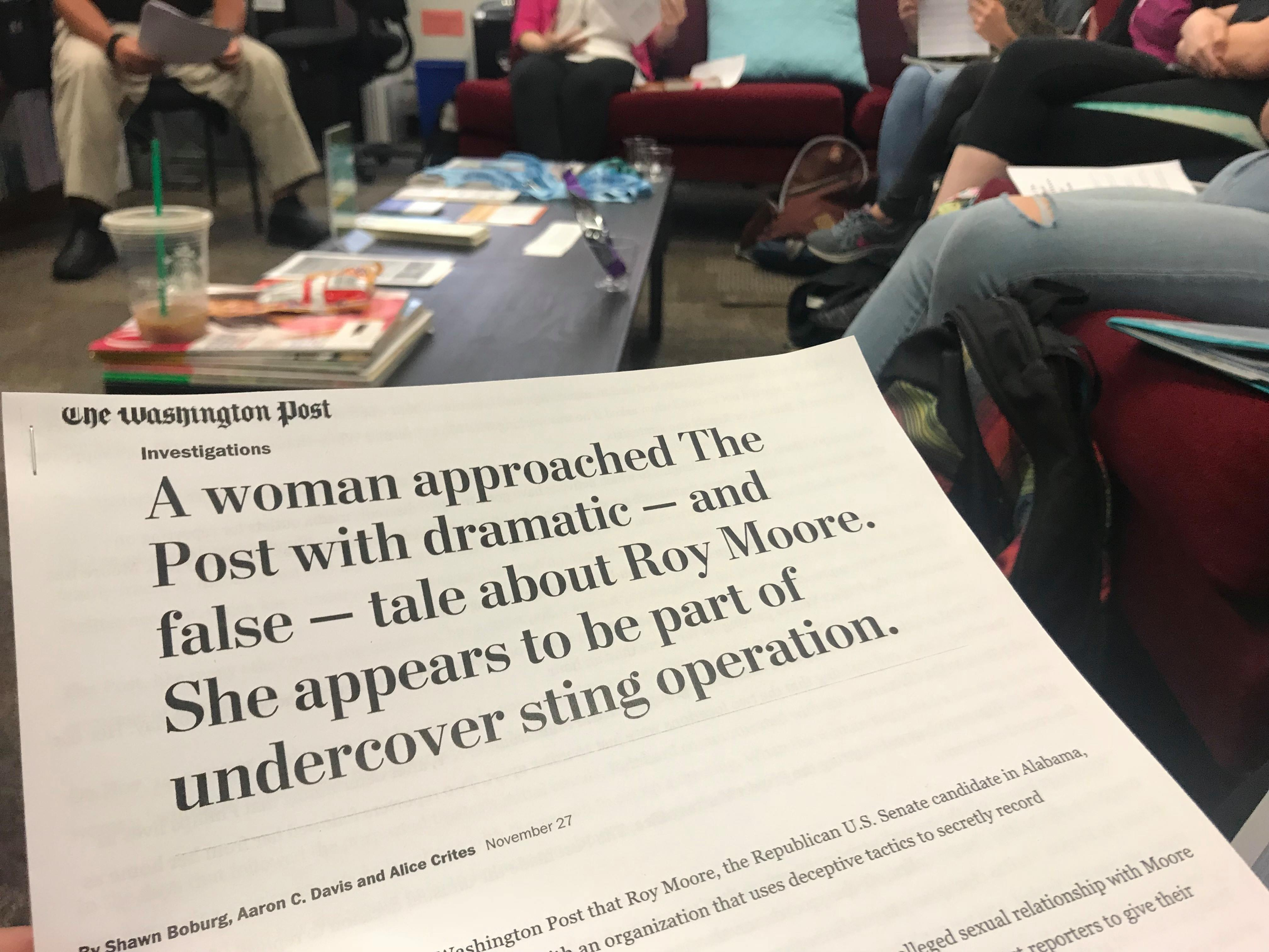 Photo of a Washington Post article used for the discussion.