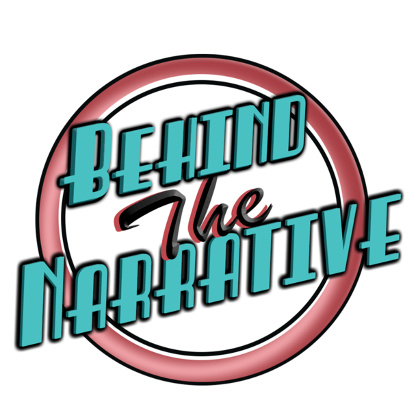 Behind the narrative in blue lettering on a white background with a red circle.