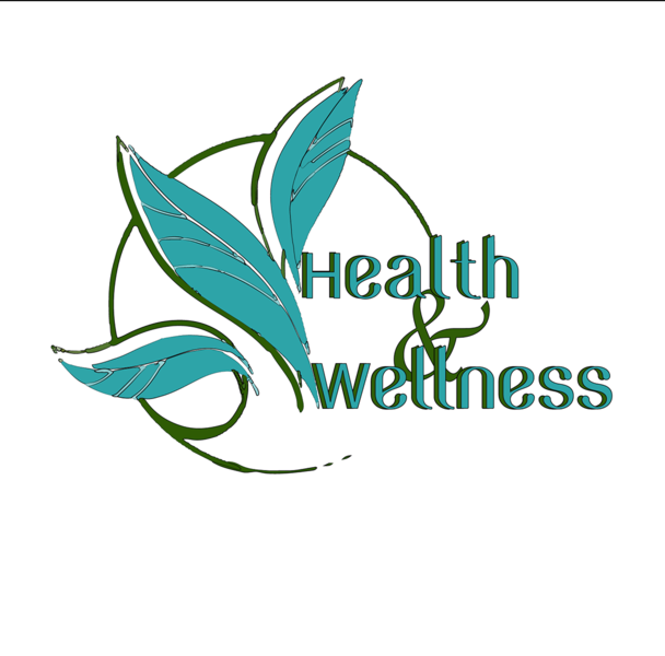Health and wellness in blue lettering on a white background.